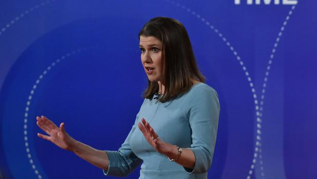 Liberal Democrat leader Jo Swinson was applauded as she ruled out a coalition wit the Tories (Jeff Overs/BBC)