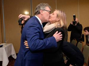 Mike Nesbitt kisses wife Lynda after his announcement to quit