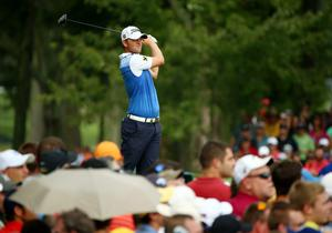 LOUISVILLE, KY - AUGUST 10: Bernd Wiesberger of Austria hits his tee shot on the fifth hole during the final round of the 96th PGA Championship at Valhalla Golf Club on August 10, 2014 in Louisville, Kentucky.  (Photo by Andy Lyons/Getty Images)