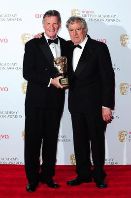 Terry Jones (right) and Michael Palin with the Fellowship Award at the 2013 Arqiva British Academy Television Awards at the Royal Festival Hall, London. PRESS ASSOCIATION Photo. Picture date: Sunday May 12, 2013. See PA story SHOWBIZ Bafta. Photo credit should read: Ian West/PA Wire