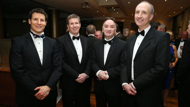 Paul Magee, Dale Guest, Stephen Simpson and Ian Sheppard at the Institute of Directors NI Annual Dinner at the Europa Hotel on Thursday night. Sponsored by Bank of Ireland and Arthur Cox, the event is the highlight of the local business calendar and was attended by over 250 people.  Picture by Kelvin Boyes / Press Eye.