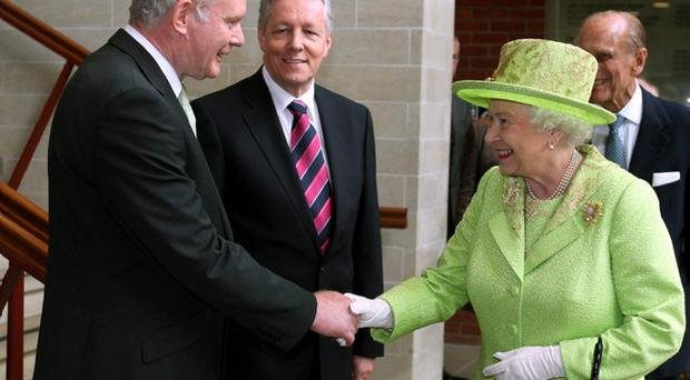 The Queen shook hands with Martin McGuinness at the Lyric Theatre in Belfast in 2012