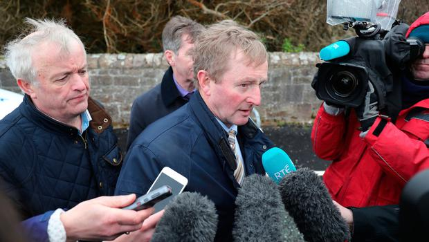 Irish Taisoch Enda Kenny speaks to the media at Blacksod Harbour, Co. Mayo, Ireland, as the search continues for an Irish Coast Guard helicopter which went missing off the west coast of Ireland. PRESS ASSOCIATION Photo. Picture date: Monday March 20, 2017. See PA story IRISH Coastguard. Photo credit should read: Niall Carson/PA Wire