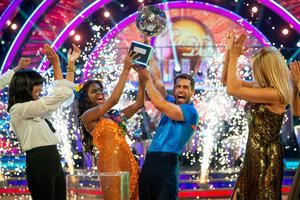 BBC handout photo of Kelvin Fletcher with Oti Mabuse after the actor won the Glitterball trophy during the live Strictly Come Dancing Final in 2019 (Guy Levy/BBC/PA)