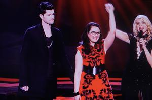 The Voice UK Final winner Andrea Begley with Danny o'donoghue and holly willoughby