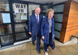 Leader of Traditional Unionist Voice Jim Allister and wife Ruth Allister pictured after voting at Connor Primary School in Kells. Picture By: Arthur Allison: Pacemaker.