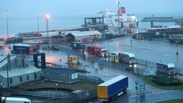Rosslare Europort in Co Wexford, after 16 people were discovered in a sealed trailer on a ship sailing from France. PA Photo. Credit: Niall Carson/PA Wire