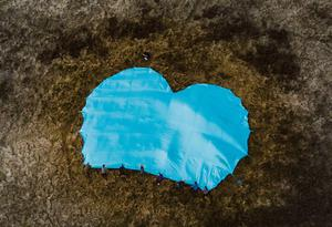 A blue heart was placed on Cavehill on Sunday in memory of Noah Donohoe, the teenager who went missing in June. Photos by Kevin Scott for Belfast Telegraph