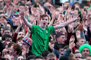 Northern Ireland fans celebrate after seeing their side score their first goal and take the lead  at the official fan zone at The Titanic Belfast, Belfast. PRESS ASSOCIATION Photo. Picture date Thursday June 16, 2016. See PA story SPORT Euro 2016 Belfast. Photo credit should read: Brian Lawless/PA Wire