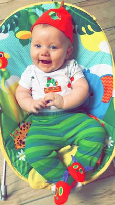 Lachlan Harkin, 4 months old, as The Very Hungry Caterpillar