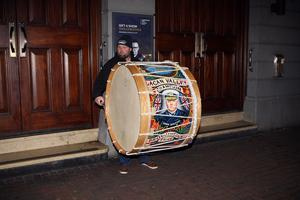 Mandatory Credit - Picture by Freddie Parkinson © Friday 6 December 2019 Loyalist rally held in the Ulster Hall tonight in opposition to Boris Johnson's Brexit withdrawal deal.