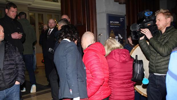 Mandatory Credit - Picture by Freddie Parkinson © Friday 6 December 2019 Loyalist rally held in the Ulster Hall tonight in opposition to Boris Johnson's Brexit withdrawal deal. Jamie Bryson arrives at the Ulster Hall and is confronted by former Lord Mayor of Armagh City, Banbridge and Craigavon Council Garath Keating
