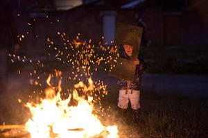 Loyalist area's across Northern Ireland get ready to kick off the 12th of July celebrations with the traditional bonfires. Mark Marlow/Pacemaker Press. Pictured is Jaxon Washington-Powell. Pic: Mark Marlow/Pacemaker Press.