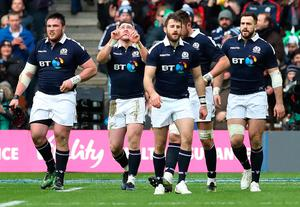 EDINBURGH, SCOTLAND - FEBRUARY 04: Stuart Hogg of Scotland celebrates after he scores the opening try during the RBS 6 Nations match between Scotland and Ireland at Murrayfield Stadium on February 4, 2017 in Edinburgh, Scotland. (Photo by Ian MacNicol/Getty Images)