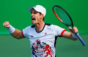 Victory roar: Andy Murray has set up a semi-final against Kei Nishikori