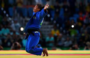 RIO DE JANEIRO, BRAZIL - AUGUST 08:  Rafaela Silva of Brazil celebrates after defeating Sumiya Dorjsuren of Mongolia in the Women's -57 kg Final - Gold Medal Contest on Day 3 of the Rio 2016 Olympic Games at Carioca Arena 2 on August 8, 2016 in Rio de Janeiro, Brazil.  (Photo by David Ramos/Getty Images) ***BESTPIX***