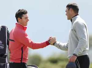 Photographer ?Matt Mackey - Presseye.com  28th May 2015  Round 1 of the 2015 Dubai Duty Free Irish Open at Royal County Down Golf Club, Newcastle, Northern Ireland.  World Number one Rory McIlroy along with Martin Kaymer.