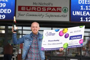 Shawn Keeley (26) from Dungiven celebrates becoming Northern Irelands latest National Lottery millionaire.