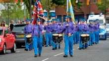 South Belfast Young Conquerors Flute Band at their annual wreath-laying parade in Belfast on Wednesday night