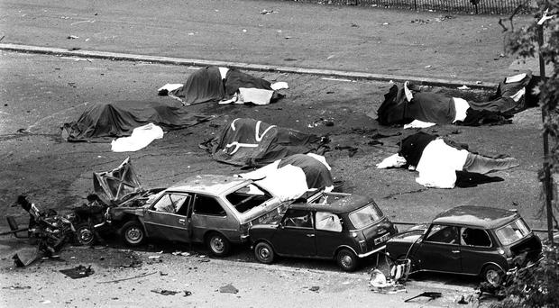 The scene in London's Hyde Park after the bomb on July 20 1982 (PA)