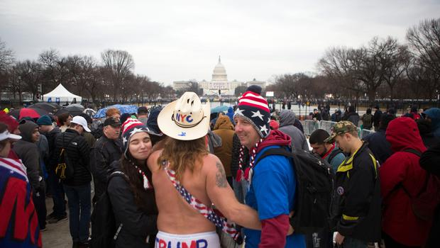 WASHINGTON, DC - JANUARY 20: New York City's Naked Cowboy joins protesters and supporters on the National Mall for the inauguration of Donald Trump on January 20, 2017 in Washington, DC. Today Trump is sworn in as the 45th president of the United States. (Photo by Jessica Kourkounis/Getty Images)