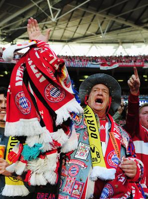 LONDON, ENGLAND - MAY 25:  An FC Bayern Muenchen fan ahead of the UEFA Champions League final match between Borussia Dortmund and FC Bayern Muenchen at Wembley Stadium on May 25, 2013 in London, United Kingdom.  (Photo by Shaun Botterill/Getty Images)