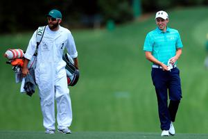 AUGUSTA, GEORGIA - APRIL 07:  Matthew Fitzpatrick of England stands with his caddie Tom Ridley on the fifth hole during the first round of the 2016 Masters Tournament at Augusta National Golf Club on April 7, 2016 in Augusta, Georgia.  (Photo by David Cannon/Getty Images)