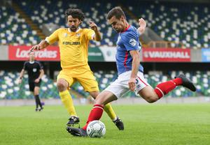 Linfield's Matthew Clarke with S.P. La Fiorita's Damiano Tommasi during Wednesday night's Champions League qualifier 1st round 1st leg tie at the National Stadium at Windsor Park, Belfast.  [Photo by William Cherry/Presseye 280617]