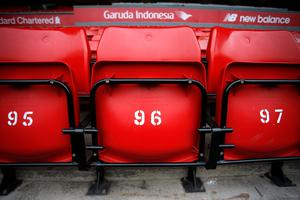 Seats with the number 96 before the last memorial service to be held at Anfield, Liverpool, to mark 27 years to the day since the tragedy claimed 96 lives. PRESS ASSOCIATION Photo. Picture date: Friday April 15, 2016. The 96 Liverpool fans died in the crush on the Leppings Lane terraces at Sheffield Wednesday's Hillsborough stadium after going to see their team play Nottingham Forest in an FA Cup semi-final on April 15, 1989. See PA story MEMORIAL Hillsborough. Photo credit should read: Peter Byrne/PA Wire