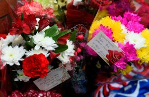 Flowers are pictured at the temporary Hillsborough memorial, ahead of a memorial service at Anfield in Liverpool, north west Engand on April 15, 2016, on the 27th anniversary of the Hillsborough Disaster. 96 Liverpool supporters died at the 1989 FA Cup semi-final between Liverpool and Nottingham Forest at the Hillsborough football ground in Sheffield, northern England. 2016 will be the final year a memorial service is held at Anfield. / AFP PHOTO / PAUL ELLISPAUL ELLIS/AFP/Getty Images