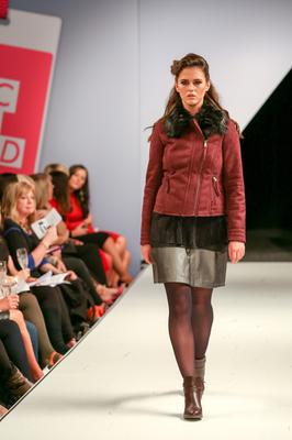 West Coast Cooler Fashion Week. Pictured: Sheena with a Black Metallic Cami, Metallic Skirt, Plum Suede Biker Jacket with Fur Collar, and a Double Strap Chelsea Boot in Burgundy with Black Tights. Picture: Philip Magowan / PressEye (21st October 2016)