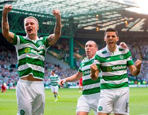 Celtic's Tom Rogic (right) celebrates scoring his sides first goal during the UEFA Champions League qualifying play-off, first leg match at Celtic Park, Glasgow. PRESS ASSOCIATION Photo. Picture date: Wednesday August 17, 2016. See PA story SOCCER Celtic. Photo credit should read: Jeff Holmes/PA Wire