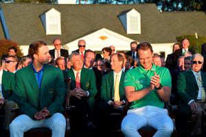 AUGUSTA, GEORGIA - APRIL 10:  Danny Willett of England celebrates winning during the green jacket ceremony with Jordan Spieth of the United States after the final round of the 2016 Masters Tournament at Augusta National Golf Club on April 10, 2016 in Augusta, Georgia.  (Photo by Harry How/Getty Images)