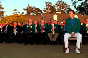 AUGUSTA, GEORGIA - APRIL 10:  Jordan Spieth of the United States reacts after presenting Danny Willett of England with the green jacket after Willett won the final round of the 2016 Masters Tournament at Augusta National Golf Club on April 10, 2016 in Augusta, Georgia.  (Photo by Andrew Redington/Getty Images)