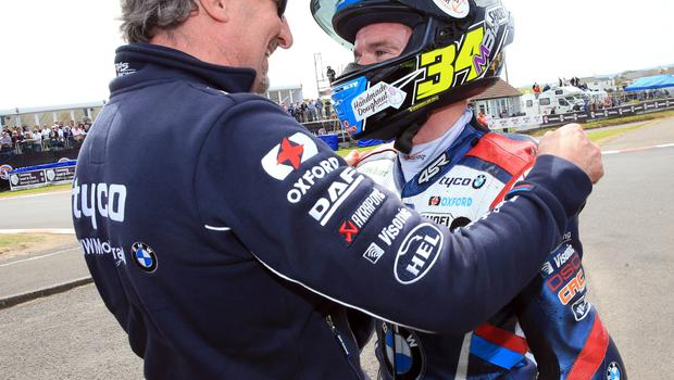 PACEMAKER BELFAST  19/05/2018 North West 200 2018 Alastair Seeley celebrates winning todays CP Hire Superstock race in the Vauxhall International North West 200. With team Boss Philip Neill Photo Stephen Davison/Pacemaker Press