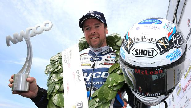 PACEMAKER BELFAST  19/05/2018 North West 200 2018 Alastair Seeley celebrates winning todays CP Hire Superstock race in the Vauxhall International North West 200. Photo Stephen Davison/Pacemaker Press