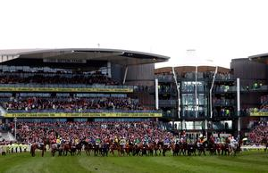 The runners and riders assemble at the start of the Crabbie's Grand National Chase during Grand National Day of the Crabbie's Grand National Festival at Aintree Racecourse, Liverpool. PRESS ASSOCIATION Photo. Picture date: Saturday April 9, 2016. See PA story RACING National. Photo credit should read: David Davies/PA Wire