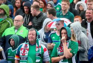 Northern Ireland fans whilst watching the UEFA Euro 2016, Group C match between Northern Ireland and Poland at the Titanic. Belfast. Brian Lawless/PA Wire