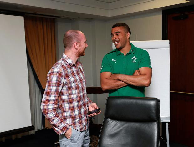 Journalist and former New York PRO John Riordan with rugby star Simon Zebo