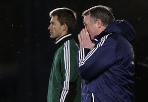 Northern Ireland manager Michael O'Neill is dejected after being defeated by Israel in Tuesday's World Cup qualifier at Windsor Park, Belfast