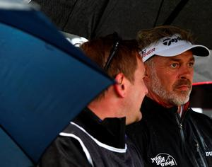 NEWCASTLE, NORTHERN IRELAND - MAY 29 : Darren Clarke of Northern Ireland on the first tee under an umbrella during the second round of the Dubai Duty Free Irish Open hosted by the Rory Foundation at Royal County Down Golf Club on May 29, 2015 in Newcastle, Northern Ireland. (Photo by Mark Runnacles/Getty Images)