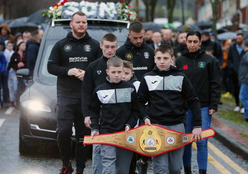 Funeral of 13-year-old Eoin Hamill at Holy Trinity Church in Turf Lodge, west Belfast. Picture by Jonathan Porter/PressEye