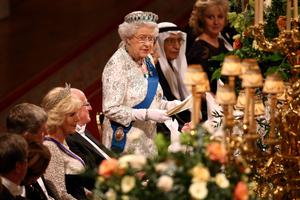 Queen Elizabeth II and the Duchess of Cornwall (4th left) attend a State Banquet in honour of the President of Ireland Michael D. Higgins (5th left) at Windsor Castle during the first State visit to the UK by an Irish President.