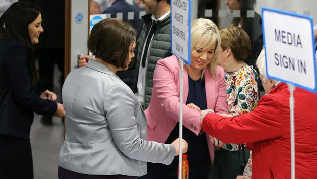 Órfhlaith Begley, Sinn Féin, left, arrives with party leaders Mary-Lou McDonald, centre, and Michelle ONeill, right, at the count centre in Omagh Leisure Centre, Co Tyrone. Photo by Kelvin Boyes / Press Eye