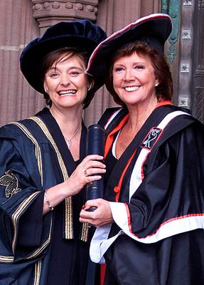 Cilla Black with Cherie Booth, Chancellor of John Moore's University in Liverpool in 2000, after she attended the presention of Cilla's honorary fellowship at Liverpool's Anglican Cathedral. Phil Noble/PA Wire.