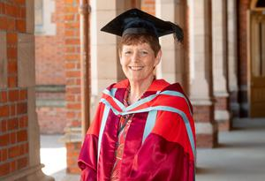 Pictured today at Queen's University Belfast is Dame Vicki Bruce who received an honorary doctorate from the University for distinction in education.