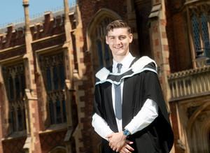Celebrating graduating with a degree in (BA Hons) History, from the School of History, Anthropology, Philosophy and Politics at Queen's University Belfast is Oisin McElroy from Carrickmore.