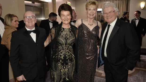 Press Eye - Belfast - Northern Ireland - 20th January  2020  Paul Gray ,Karen Bowen,Janet Gray and Jackie Fullerton pictured at the 2019 Belfast Telegraph Sport Awards at the Crowne Plaza Hotel in Belfast. Photo by Stephen Hamilton / Press Eye.