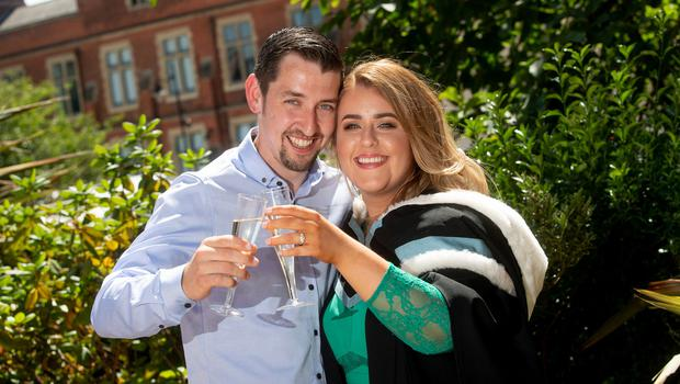 It was double celebrations today for Queen's University graduate Stephanie Kirwan when her boyfriend of six years proposed just after her graduation ceremony.