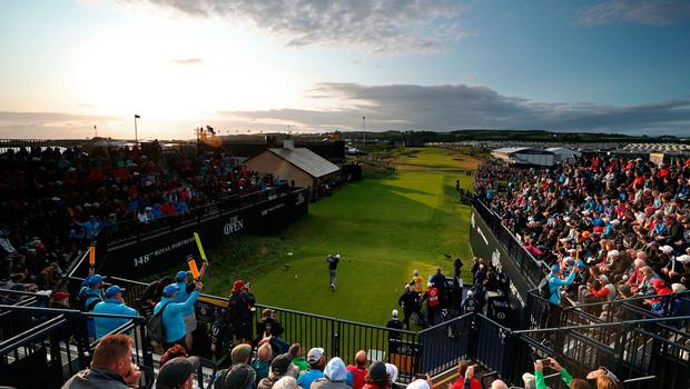 Republic of Ireland's James Sugrue tees off the 1st during day one of The Open Championship 2019 at Royal Portrush Golf Club. PRESS ASSOCIATION Photo. Picture date: Thursday July 18, 2019. See PA story GOLF Open. Photo credit should read: David Davies/PA Wire. RESTRICTIONS: Editorial use only. No commercial use. Still image use only. The Open Championship logo and clear link to The Open website (TheOpen.com) to be included on website publishing.
